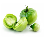Ripe Green Sliced Tomatoes Isolated on White Stock Images
