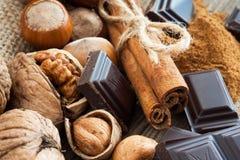 Ripe hazelnuts and cinnamon royalty free stock image