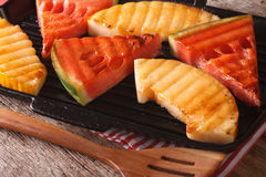 Free Ripe Healthy Organic Grilled Watermelon And Melon Close-up. Hori Stock Image - 75708801