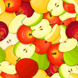 Ripe juicy apple seamless background. Vector card illustration. Royalty Free Stock Photo