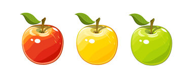 Ripe juicy apple. Set of vector illustration Stock Image