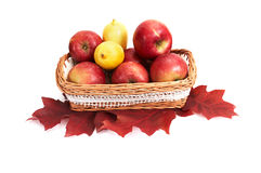 Ripe, juicy apples and lemons in the basket. Stock Photo
