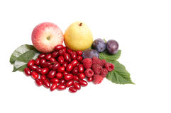 Ripe juicy autumn fruits on a white. Royalty Free Stock Photos