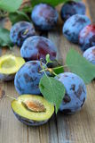 Ripe juicy blue plum Stock Photo