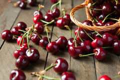 Ripe juicy cherries on the table Royalty Free Stock Photos