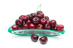 Ripe juicy cherry closeup on a white background Stock Image