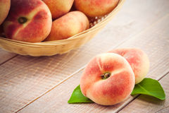 Ripe juicy chinese flat peaches Stock Image