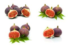 Ripe juicy figs on a white background Royalty Free Stock Photo