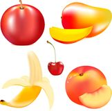 Ripe juicy fruit, red ripe apple, mature yellow banana, small красныя cherry, a tasty peach Stock Photos