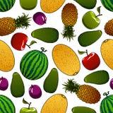 Ripe juicy fruits seamless pattern Stock Image