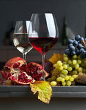 Ripe juicy grape and glass of wine Royalty Free Stock Images