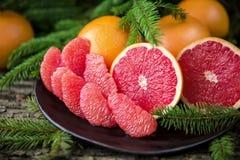 Ripe juicy grapefruit. Peeled slices of ripe juicy grapefruit Royalty Free Stock Images