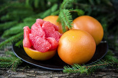 Ripe juicy grapefruit. Peeled slices of ripe juicy grapefruit Royalty Free Stock Photos