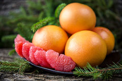 Ripe juicy grapefruit. Peeled slices of ripe juicy grapefruit Royalty Free Stock Image