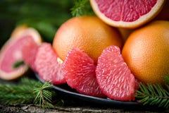 Ripe juicy grapefruit. Peeled slices of ripe juicy grapefruit Stock Photography