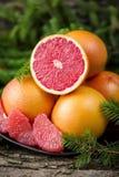 Ripe juicy grapefruit. Peeled slices of ripe juicy grapefruit Stock Photos