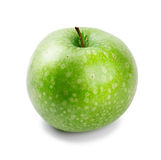 Ripe and juicy green apple a shank upwards isolate Royalty Free Stock Photo