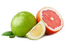 Ripe juicy green and red grapefruit with leaf  on white backgrou Royalty Free Stock Photo