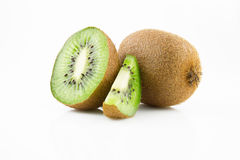 Ripe and juicy kiwi fruit and its parts Royalty Free Stock Images