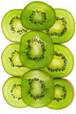 Ripe and juicy kiwi fruit and its parts. On a white background Stock Photography