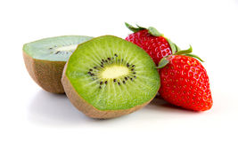 Ripe and juicy kiwi and strawberry close-up Royalty Free Stock Photos