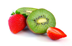 Ripe and juicy kiwi and strawberry close-up Royalty Free Stock Photo