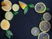 Ripe and juicy lime and lemon with a sprig of mint on a dark tab stock photo