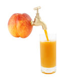 Ripe juicy nectarine with faucet and glass of juic Royalty Free Stock Image