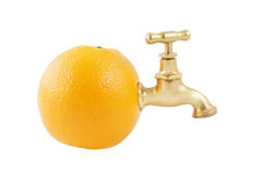 Ripe juicy orange with faucet Stock Photos