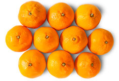 Ripe Juicy Orange Tangerines. Isolated On White Background Royalty Free Stock Images