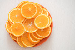 Ripe juicy oranges on a plate Royalty Free Stock Photos