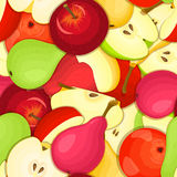 Ripe juicy pear apple seamless background. Vector card illustration. Royalty Free Stock Photography