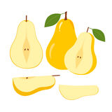 Ripe Juicy Pear Fruit and Slices on a White Royalty Free Stock Photos