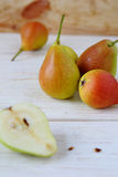 Ripe and juicy pear on the table Royalty Free Stock Image