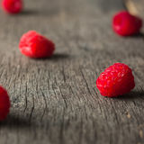 Ripe juicy raspberries on a dark background. View from above Stock Image