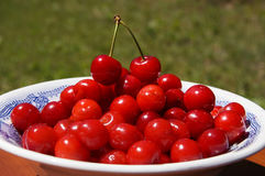 Ripe juicy red cherries in a plate. On a table on a background of bokehn royalty free stock image