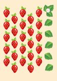 Ripe juicy red strawberries isolated with leaves and flowers. Illustration Stock Photography