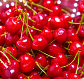 Ripe juicy red sweet cherries Stock Photo