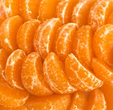 Ripe Juicy Tangerine Slices Isolated Stock Photography