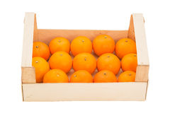 Ripe, juicy tangerines in a wooden box stacked in a one row. Front view Royalty Free Stock Photos