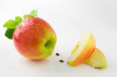 Ripe, juicy and tasty apples. On a white background Stock Images