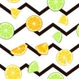 Ripe juicy tropical fruit striped seamless background. Vector card illustration. Fresh citrus lime orange lemon fruit on. Black lines. Seamless pattern for Stock Photos
