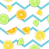 Ripe juicy tropical fruit striped seamless background. Vector card illustration. Fresh citrus lime orange lemon fruit on. Blue lines. Seamless pattern for Stock Images