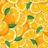 Ripe juicy tropical orange background. Vector card illustration. Closely spaced fresh citrus orange fruit peeled, piece Royalty Free Stock Photo