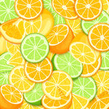 Ripe juicy tropical orange lime lemon background. Vector card illustration. Closely spaced fresh citrus orange fruit Stock Images