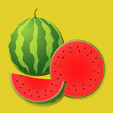 Ripe juicy watermelon slices on a striped background Stock Photography