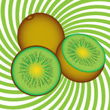 Ripe kiwi. Illustration on an abstract green background Stock Photos