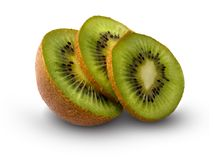 Ripe by kiwi. Ripe large natural fruit of kiwi on a white background Royalty Free Stock Image