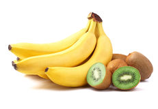 Ripe kiwi and bananas Stock Image