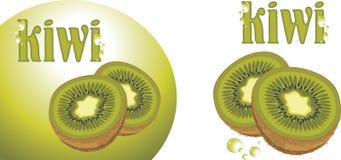 Ripe kiwi fruit. Icons for design. Illustration Royalty Free Stock Photo